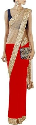 Indian Ethenic Solid Bollywood Georgette, Net Sari