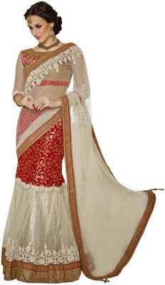 Odhni Embriodered Bollywood Net, Jacquard, Satin Sari