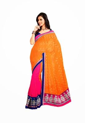 De Marca Printed Fashion Georgette, Jacquard Sari