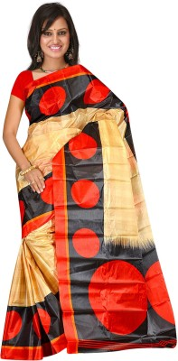 Subhash Sarees Polka Print, Animal Print Daily Wear Art Silk Sari