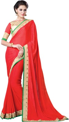 Hypnotex Solid Fashion Georgette Sari