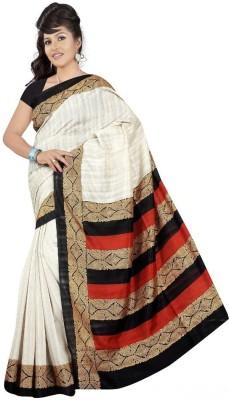 Santosafashion Printed Bhagalpuri Silk Cotton Blend Sari