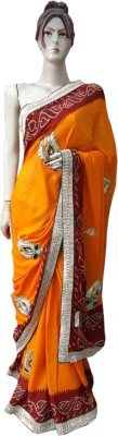 M. S. Center Embriodered Bandhani Synthetic Crepe Sari