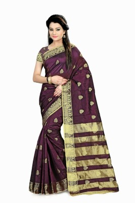 Rajasthani Bandej Self Design Fashion Silk Cotton Blend Saree(Magenta) at flipkart
