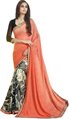 KL COLLECTION Striped Fashion Georgette, Brasso Sari
