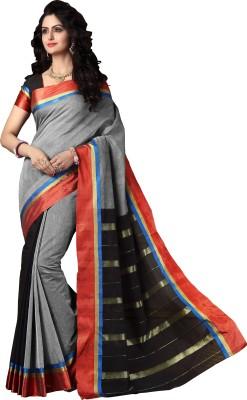 M.S.Retail Solid Fashion Cotton Saree(Grey) at flipkart