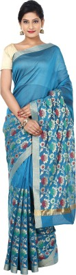 Sevensquare Floral Print Banarasi Organza Sari