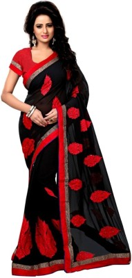 Shri Sarees Embriodered Lucknow Chikankari Chiffon Sari