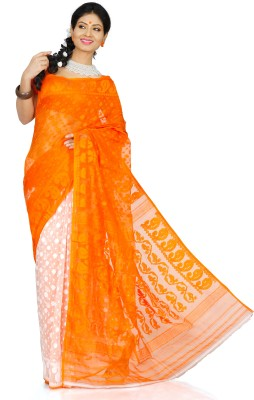 Crochetin Self Design Jamdani Handloom Silk Cotton Blend Sari