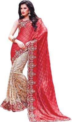 Allol Embriodered Bollywood Pure Silk, Net Sari