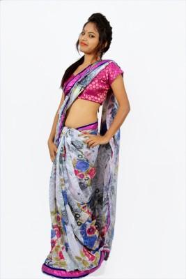 Creativz Hand Floral Print Bollywood Georgette Sari
