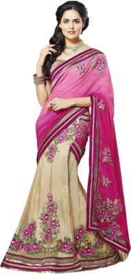 Moh Manthan Self Design Lehenga Saree Chiffon, Net, Satin Sari