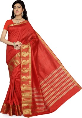 Rani Saahiba Woven Fashion Tussar Silk Sari(Red)