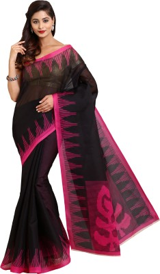 Parchayee Printed Mangalagiri Polycotton Saree(Black) at flipkart