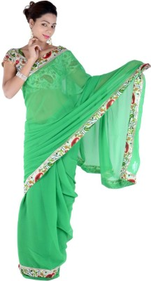 Bashii Solid, Floral Print Bollywood Georgette, Cotton Sari