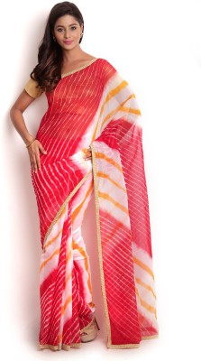 Kasturi-B Swadeshi Karigari Woven Leheria Georgette Sari