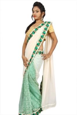 Creativz Hand Solid Bollywood Net, Georgette Sari