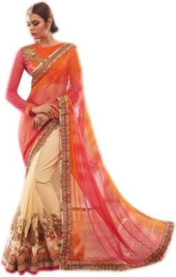 Lajo Solid Bollywood Georgette, Net Sari