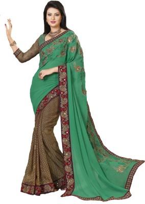 Navya Fashion Embriodered Fashion Georgette, Brasso Sari