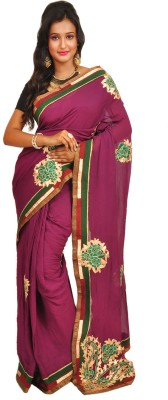 Anamika Collection Self Design Fashion Handloom Synthetic Georgette Sari