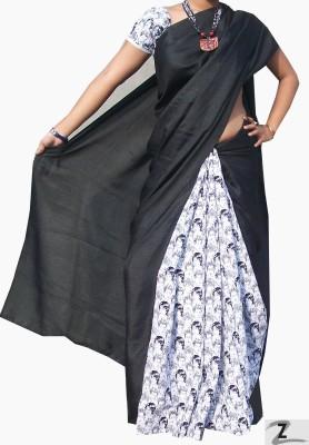 ZORIA Self Design Fashion Cotton, Poly Silk Sari