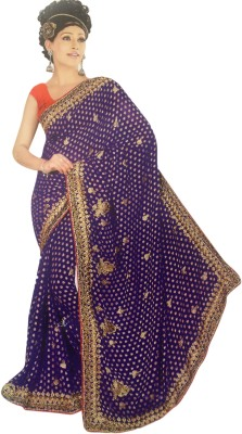 Shaily Bahubali Solid Fashion Georgette Sari