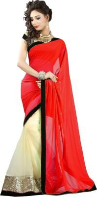 SanjuFashion Solid Bollywood Georgette Sari