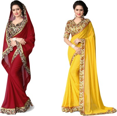Indianbeauty Self Design, Solid Fashion Chiffon Saree(Pack of 2, Yellow, Red) at flipkart