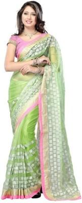 Lime Fashion Embellished Fashion Handloom Net Sari