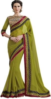 KHUSHALI COLLECTION Embriodered Bollywood Handloom Georgette Sari