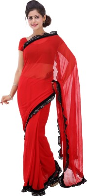 Lado Fashion Square Solid Fashion Georgette Sari