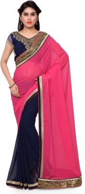 Triveni Self Design Fashion Georgette Saree(Blue) at flipkart