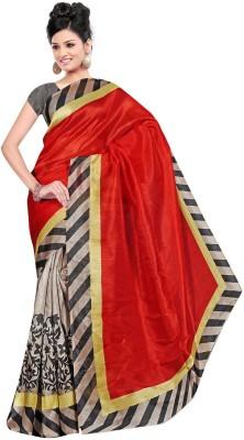 Myfab Plain Fashion Art Silk Sari