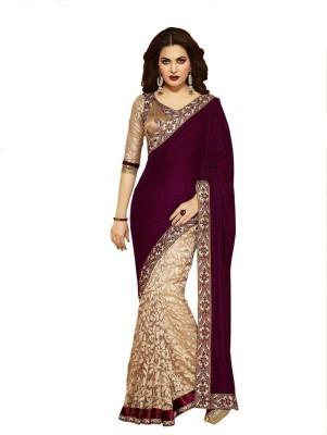 Amar Creation Self Design, Solid Bollywood Brasso Fabric, Velvet Sari