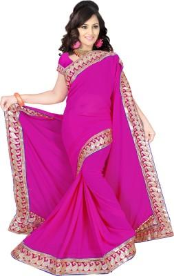 Winza Embriodered, Embellished, Solid Fashion Georgette Sari