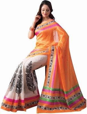 BlueGene Floral Print Bhagalpuri Art Silk Sari