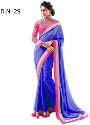 Anerra Plain Fashion Handloom Chiffon Sari