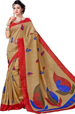 DESIGN WILLA Printed Bollywood Cotton Linen Blend Saree(Multicolor) at flipkart