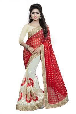 Pragati Fashion Hab Embroidered Fashion Brasso Sari(Red)