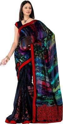 Pbs Prints Graphic Print Fashion Georgette Sari