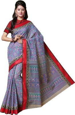 M.S.Retail Printed Gadwal Cotton Saree(Purple) at flipkart