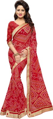Mirchi Fashion Printed Bandhani Synthetic Georgette Saree(Red) at flipkart