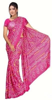 Vogue Era Self Design, Printed Bandhani Crepe Sari