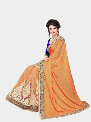 Hari Krishna sarees Embriodered Bollywood Net, Lycra, Velvet Sari