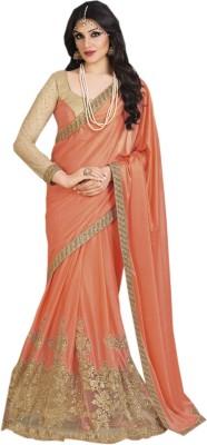Shoppingover Embriodered Fashion Handloom Lycra Sari