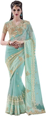 Odhni Embroidered Bollywood Net Saree(Green) at flipkart