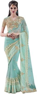 Odhni Embroidered Bollywood Net Saree(Green) at flipkart