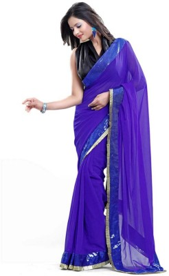 Dhnet Self Design Fashion Pure Georgette Sari
