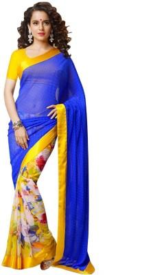 Glamour Tex Floral Print Bollywood Chiffon Sari