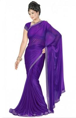 Dhanu Fashion Solid Bollywood Lycra Sari